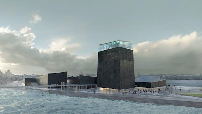 Rendering of the winning design for the new Guggenheim Helsinki by Moreau Kusunoki Architectes.
