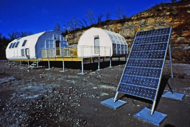 The first off the grid solar powered prototype buildings.