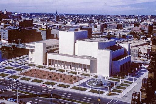 "The Marcus Center for the Performing Arts in 1969 with its Dan Kiley-designed horse-chestnut grove freshly planted. Credit: Joe Karr/Harry Weese & Associates, image via <a href=""https://docomomo-us.org/news/milwaukees-marcus-center-at-risk"">docomomo-us.org</a>"
