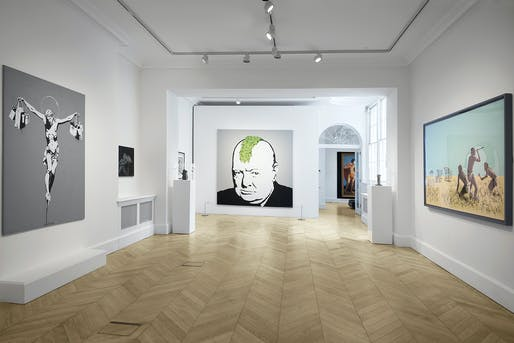 """Installation view of """"Banksy, Greatest Hits: 2002-2008"""". Image courtesy of Lazinc."""