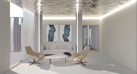 Initial design of a waiting lounge for a high-rise residential project in Coles St, New Jersey