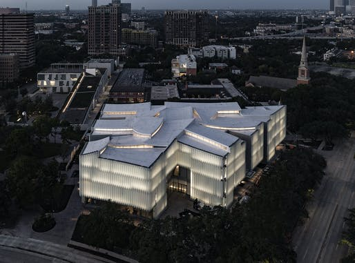 Bird's eye view of the new Nancy and Rich Kinder Building at the Museum of Fine Arts, Houston. © Richard Barnes. All images courtesy of MFAH.