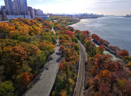 "New York City as seen from the George Washington Bridge in the fall. Photo <a href=""https://www.flickr.com/photos/joiseyshowaa/11032870335"">via</a>."