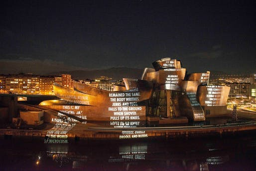 The facade projections are part of the new exhibition Jenny Holzer: Thing Indescribable at the Museo Guggenheim Bilbao. Image via the museum's Facebook page.