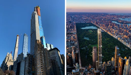 Current view of construction via 6sqft (L); Rendering of the completed tower via Extell (R)