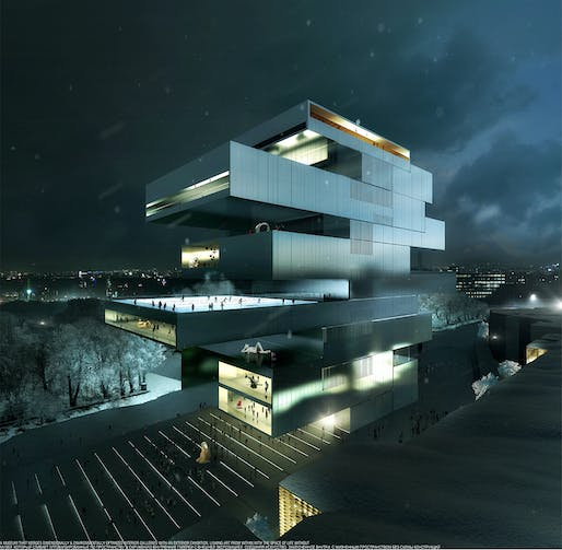 New NCCA proposal by Heneghan Peng Architects. Image/Visualization by Luxigon