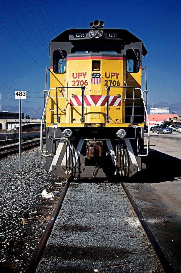original photo: freight train head-on