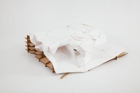 Storm King Artist Residency - massing 'skin' model (MDF and bristol paper).