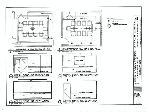 Conference Room Finish Plan, Reflected Ceiling Plan and Interior Elevations