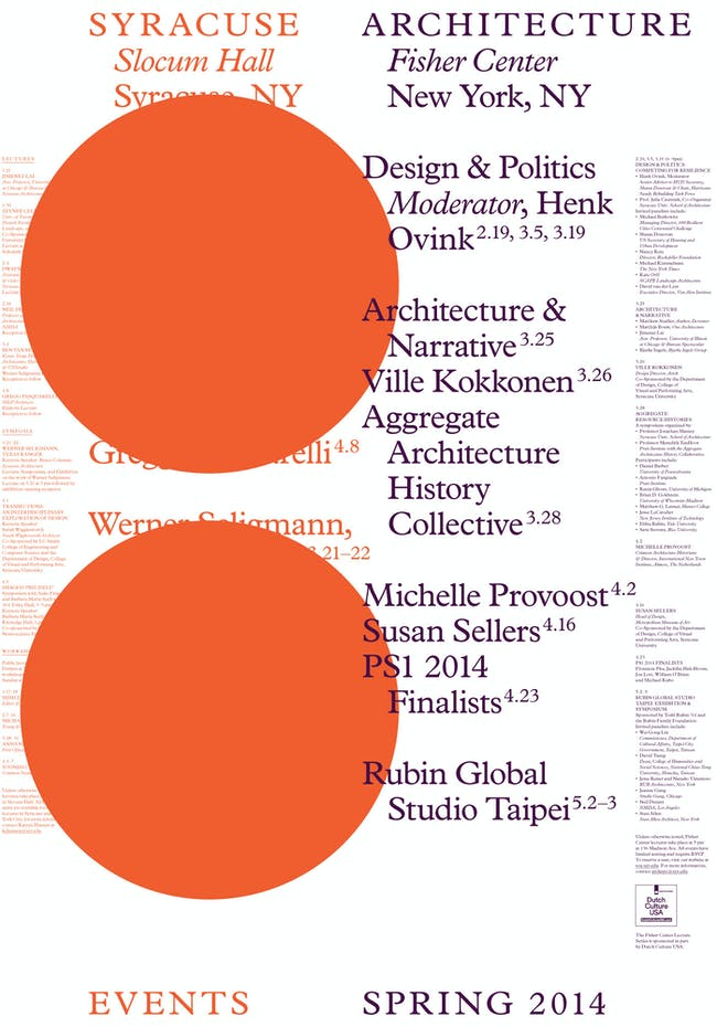 Spring '14 Fisher Center events for the Syracuse University School of Architecture. Image courtesy of Syracuse SOA.