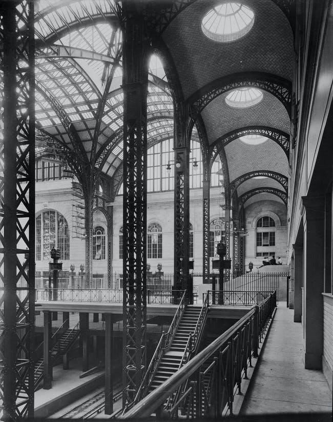 In 1910, the Guastavino Company was actively working on both Grand Central Terminal and Pennsylvania Station (pictured here). Guastavino vaulting provided stations architects with an efficient structural solution that gave the impression of solidity and permanence... The architectural firm that was involved with the Pennsylvania Station project was McKim, Mead, and White. Courtesy of Avery Architectural and Fine Arts Library, Columbia University
