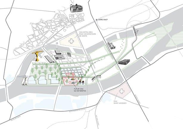 Implementation of future CHU on the Île de Nantes