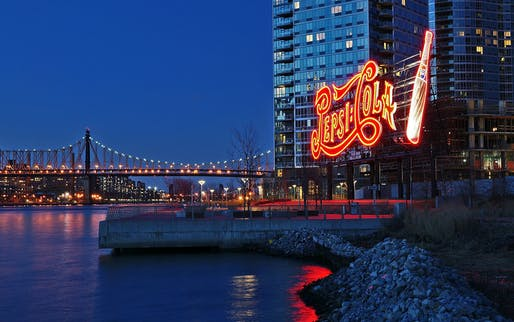 """The famous Pepsi sign in Gantry Plaza State Park, Long Island City, NY. Photo: Dianne Rosete/<a href=""""https://www.flickr.com/photos/fuchsia_berry/8584956488/"""">Flickr</a>."""