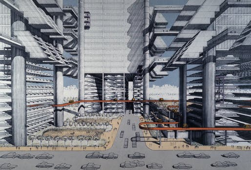 Rendering of Robert Moses' dystopian-looking (and never realized) LOMEX Lower Manhattan Expressway proposal. Image: Paul Rudolph/Library of Congress.