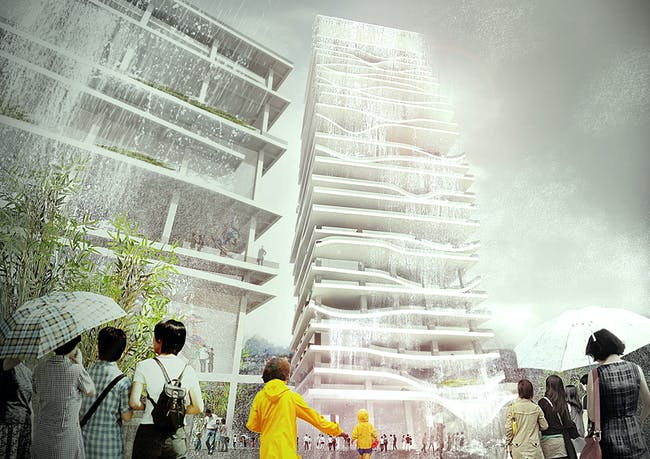 Entry to the Taichung City Cultural Center competition by KAMJZ; waterfall view (Image: KAMJZ)