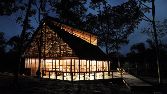 Santiago, Chile–based architect Samuel Bravo's Ani Nii Shobo lodge, nature reserve, and shamanic healing center in Ucayali, Péru (2009). PHOTO: Courtesy Samuel Bravo.
