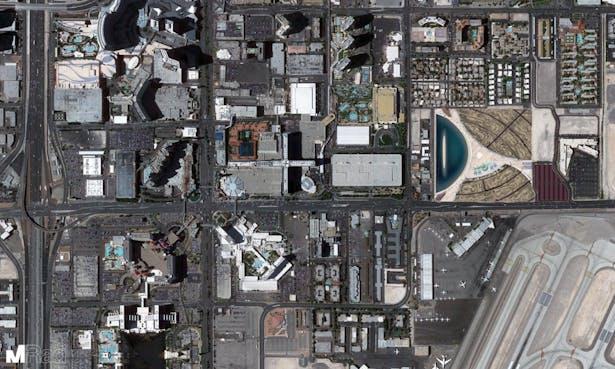 Google Earth view of Vegas Extreme next to Las Vegas Strip