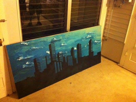 Almost finished Denver Skyline painting