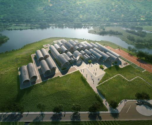 Aerial view of Lushan Primary School. Rendering by VA. Image courtesy of ZHA.
