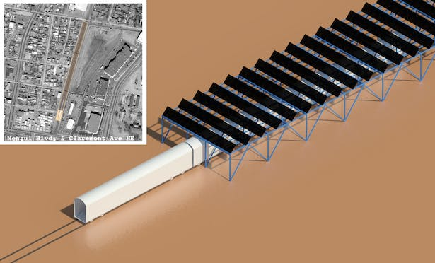 Solar Array Canopy; An energy infill project that proposed utilizing land above train tracks for solar collection.