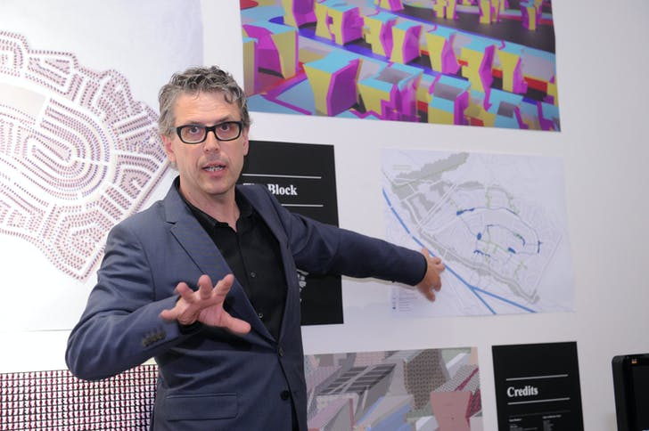Andrew Zago of Zago Architecture presents at the Foreclosed: Rehousing the American Dream Open Studios at MoMA PS1 on June 18, 2011. Photograph by Don Pollard. © 2011 The Museum of Modern Art.