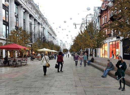 'Walkable London' exhibition rendering, Oxford Street, London. Image: Zaha Hadid Architects.