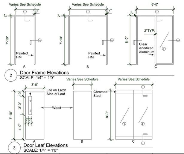 Door Frame and Door Leaf Elevations