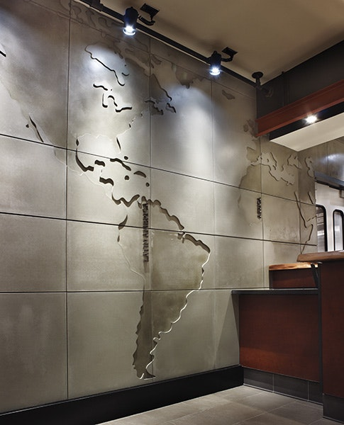 world map wall feature