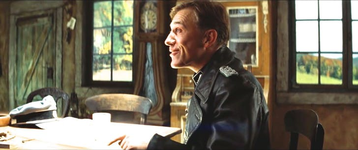 SS Colonel Hans Landa, Inglourious Basterds. Screenshot via YouTube.
