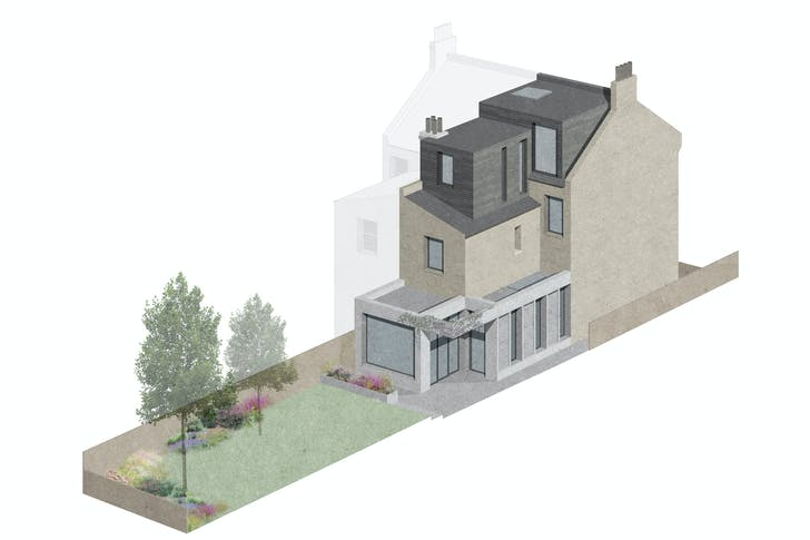 CJ Residence in Walthamstow, 'As part of our proposed design, we aim to retain and gradually blend this more mature garden into a softer more open external space linking the proposed rear/side additions.'