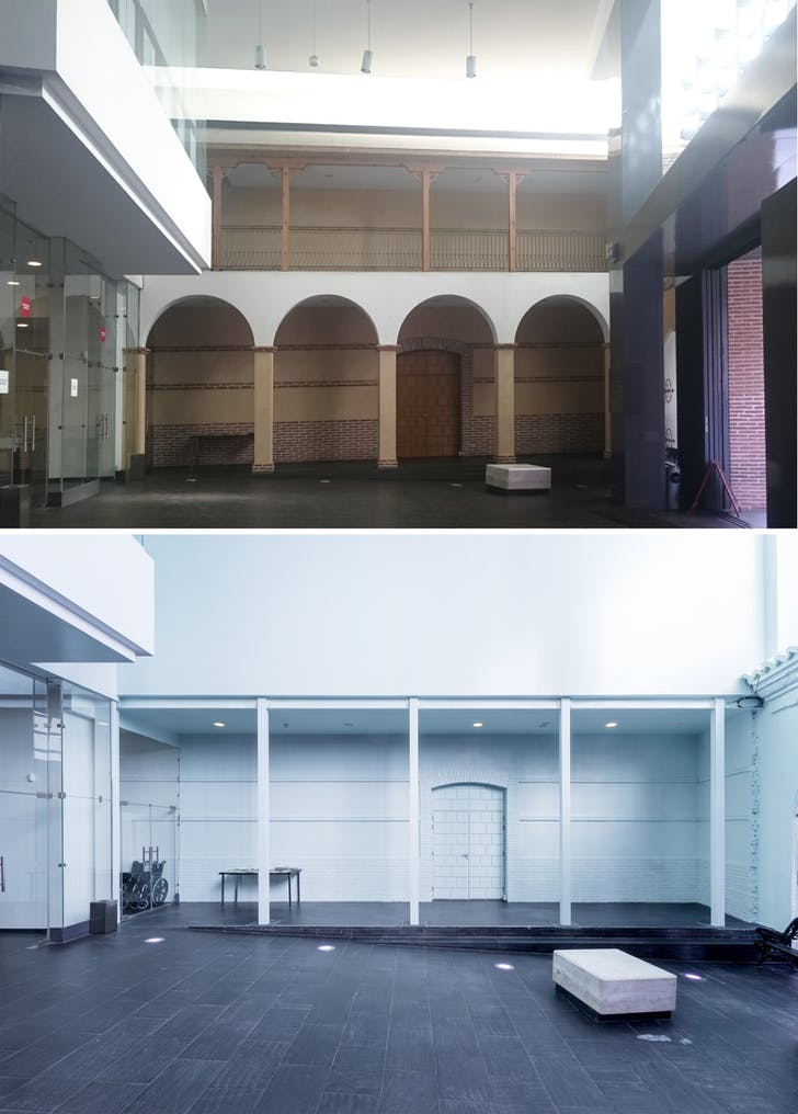 Before and after. Acupuncture light. Series of interventions to update CA2M. Credit: Andrés Jaque/Office for Political Innovation (2017)