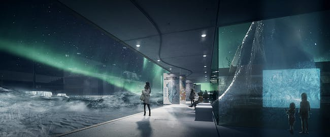 Rendering, Arctic Hub, winter (Image: David Garcia Studio and Henning Larsen Architects)