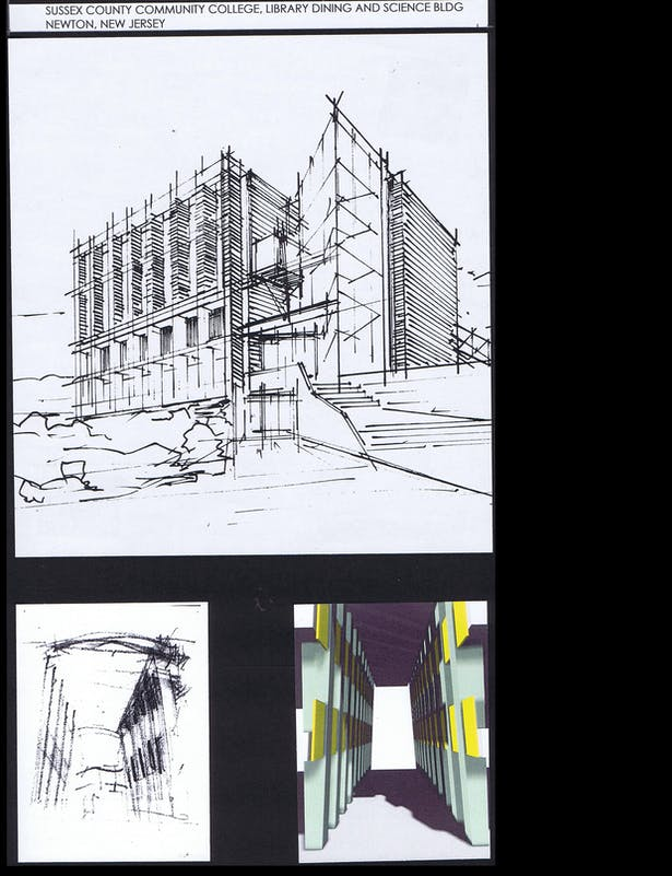 Initial sketch of the Building, sketch and computer model of Library double heightspace