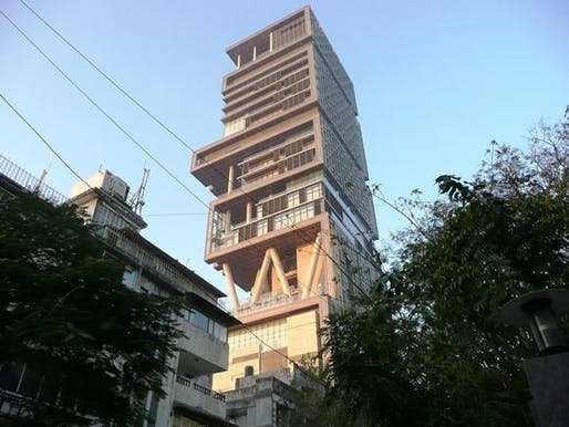 Skyscraper for one: billionaire Mukesh Ambani's 27-storey home 'Antilia' towers over adjacent apartment buildings in Altamount Road, South Mumbai. Photo: Kerwin Datu