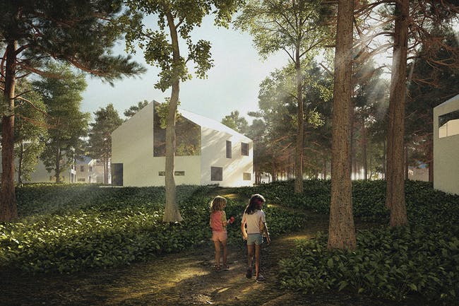 Pedestrian view. Basic neighborhood unit. Image courtesy of BOMP.