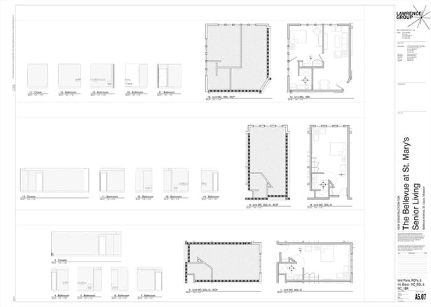 I worked in plan, reflected ceiling plan, and elevation to document each unit type variation.