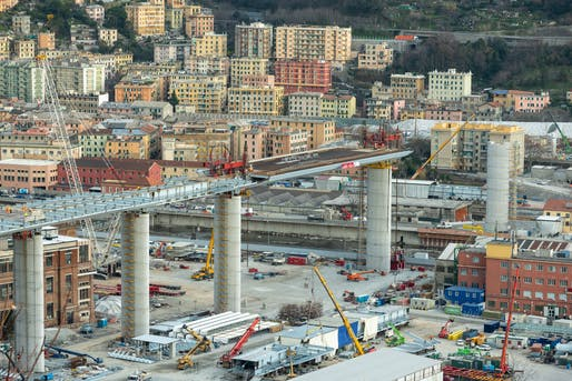 "Construction photo of the new Genoa Bridge in mid-February 2020. Image via PerGenova/Salini Impregilo on <a href=""https://www.facebook.com/SaliniImpregiloOfficial/photos/a.2175598699194540/2762396223848115/?type=3&theater"">Facebook</a>."