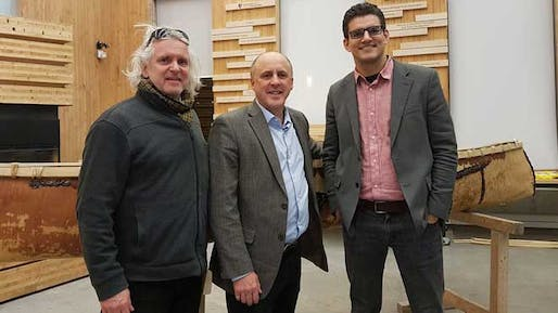David Fortin (right), the new director of Laurentian University's McEwen School of Architecture, with founding director Terrance Galvin (left) and the university's interim president Pierre Zundel.