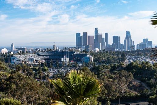 Dodger Stadium outside of downtown Los Angeles is one of several stadiums that have been turned into mass vaccine distribution sites. Photo: Manfred Guttenberger/Pixabay.