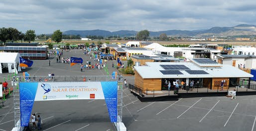 Aerial view from the 2015 U.S. Department of Energy Solar Decathlon at the Orange County Great Park in Irvine, California. (Credit: Thomas Kelsey/U.S. Department of Energy Solar Decathlon)