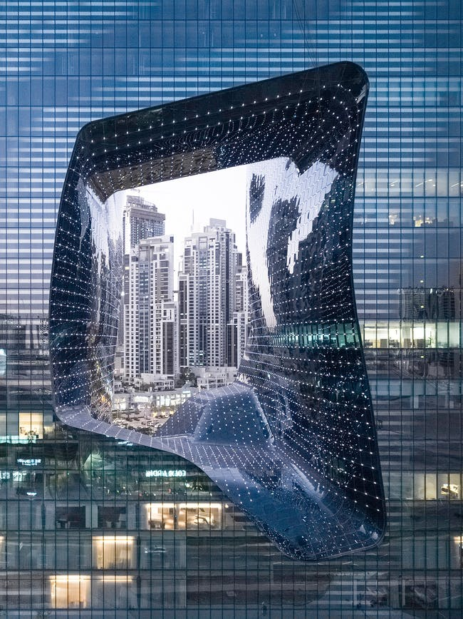 The new ME Dubai hotel recently opened at the ZHA-designed Opus building. Photo: Laurian Ghinitoiu, all images courtesy of Zaha Hadid Architects.