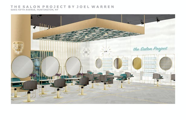 rendering of custom built make-up stations and hair styling stations in the background
