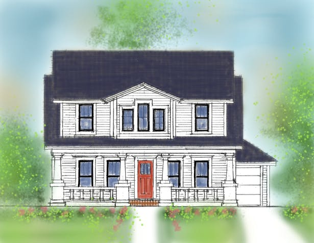 Front elevation for a Craftsman styled house for Orlando