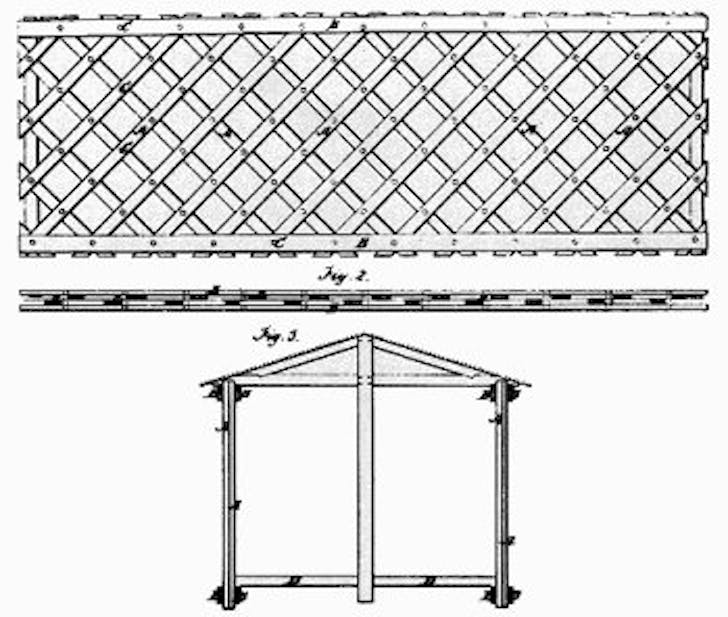 A diagram showing Ithiel Town's innovative lattice bridge design. Image courtesy of Wikimedia Commons.