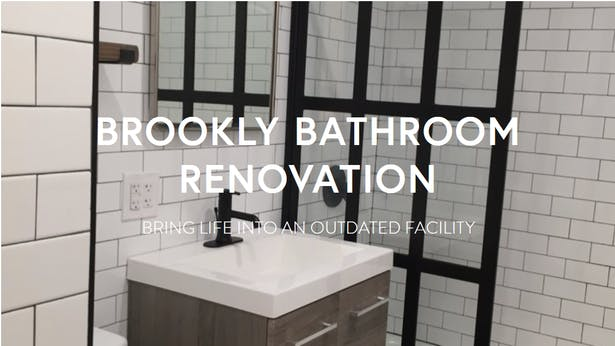 A unified them of contrasting colors and textures with an update of bathroom features.