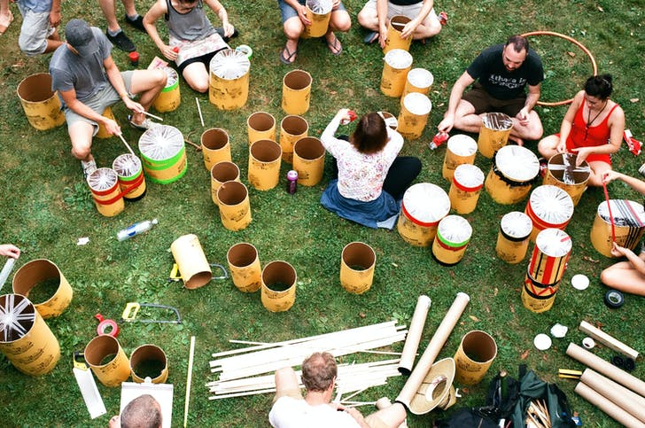 Drum-making at Camp Wandawega. Photo by Christian Hatten.