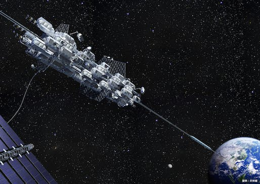 Rendering of a space elevator by Japanese space contractor Obayashi Corp.