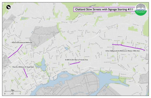 Map of Oakland's COVID Open Streets initiative. Image courtesy of Oakland Department of Transportation.