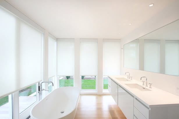 Shades Can Be Drawn in the Master Bath When Privacy is Desired