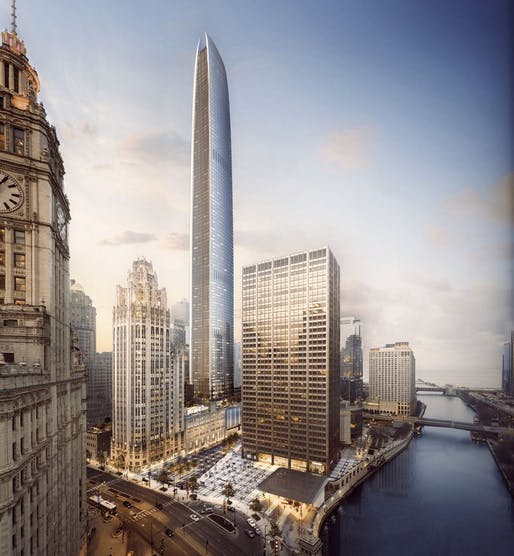 View of the proposed tower. Image courtesy of Golub & Co. and CIM Group.